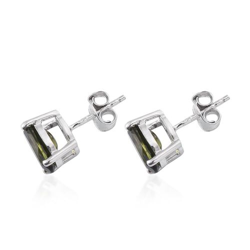 Bohemian Moldavite (Ovl) Stud Earrings (with Push Back) in Platinum Overlay Sterling Silver 2.750 Ct.