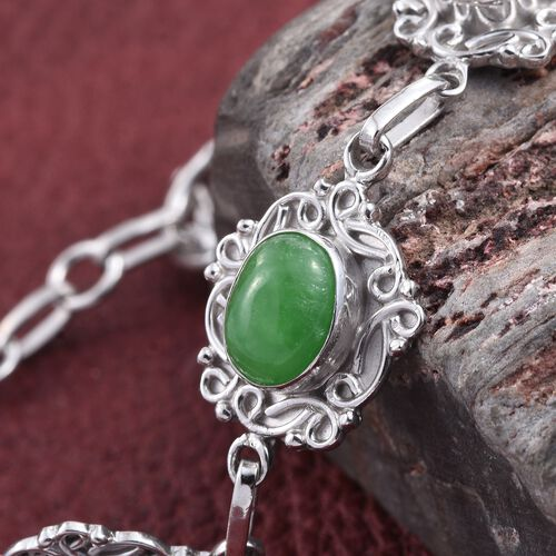 Green Jade (Ovl) Bracelet (Size 7.5) in Rhodium Plated Sterling Silver 10.000 Ct. Silver wt. 10.30 Gms.