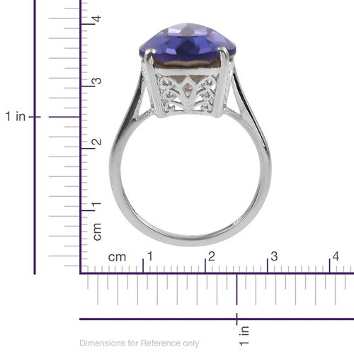 Crystal from Swarovski - Tanzanite Colour Crystal (Pear) Ring in Sterling Silver