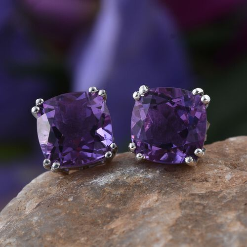 Lavender Alexite (Cush) Stud Earrings (with Push Back) in Platinum Overlay Sterling Silver 3.750 Ct.
