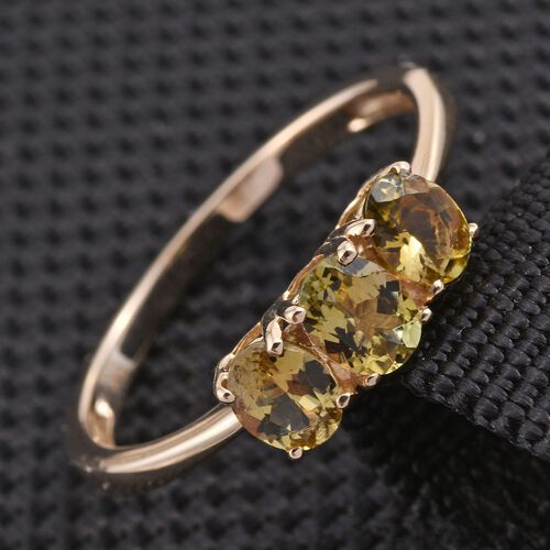 9K Y Gold Natural Yellow Tanzanite (Ovl) Trilogy Ring 1.000 Ct.