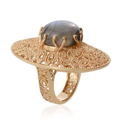 Labradorite (Rnd) Ring in 14K Gold Overlay Sterling Silver 11.250 Ct.