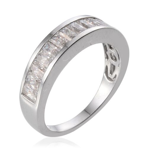 J Francis - Platinum Overlay Sterling Silver (Bgt) Half Eternity Band Ring Made With SWAROVSKI ZIRCONIA 1.540 Ct.