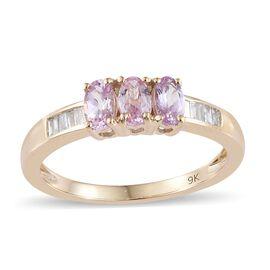 9K Yellow Gold AA Pink Tanzanite (Ovl), Diamond Ring 0.850 Ct.