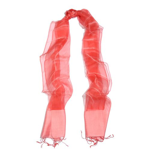 100% Varanasi Silk Pink and Red Colour Scarf (Size 180x50 Cm)