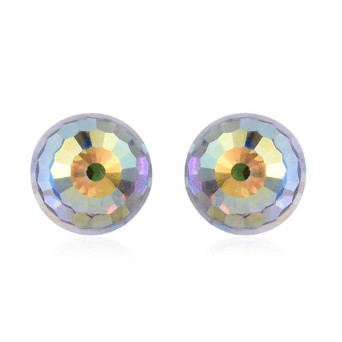 J Francis Crystal from Swarovski - AB Crystal Stud Earrings (with Push Back) in Platinum Overlay Sterling Silver