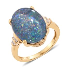 Australian Boulder Opal (Ovl 6.70 Ct), Diamond Ring in 14K Gold Overlay Sterling Silver 6.750 Ct.