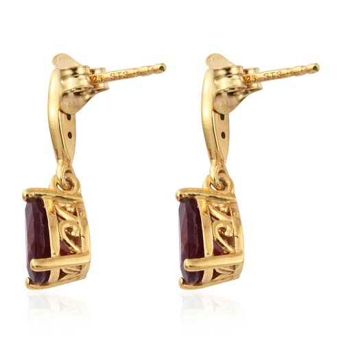 African Ruby, Natural Cambodian Zircon Drop Earrings (with Push Back) in Gold Plated Silver 2.75 Ct