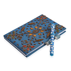 Hand Crafted Embellished Zari Work Blue and Brown Colour Notebook with Pen Set (Size 17.78X12.70 Cm)