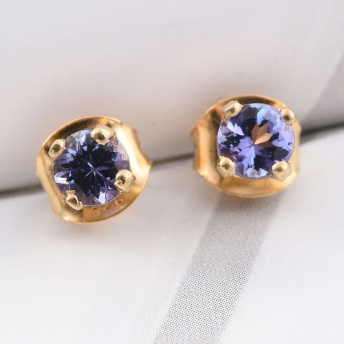 Tanzanite 0.50 Carat Silver Solitaire Stud Earring in Gold Overlay