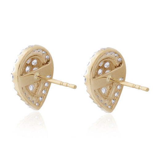 9K Yellow Gold SGL Certified Diamond (Rnd) (I3 G-H) Stud Earrings (with Push Back) 1.000 Ct.