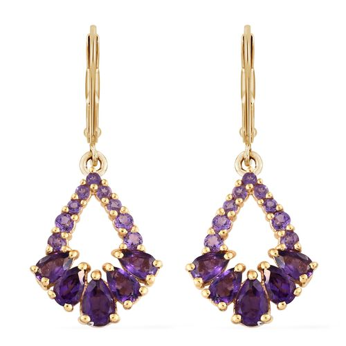 Amethyst (Pear) Lever Back Earrings in 14K Gold Overlay Sterling Silver 2.750 Ct.