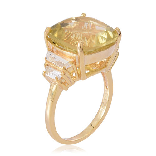 Lemon Quartz (Cush 12.00 Ct), White Topaz Ring in 14K Gold Overlay Sterling Silver 13.000 Ct.