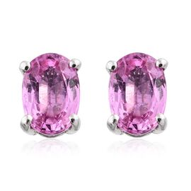 RHAPSODY 950 Platinum 1.25 Ct. AAAA Pink Sapphire Solitaire Stud Earrings (with Screw Back)