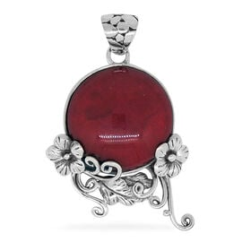 Royal Bali Collection Coral (Ovl) Floral Pendant in Sterling Silver 10.000 Ct.