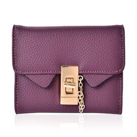 Elegant Purple Wallet with Jewelry-Inspired Hardware Lock (Size 11.5x9.5 Cm)