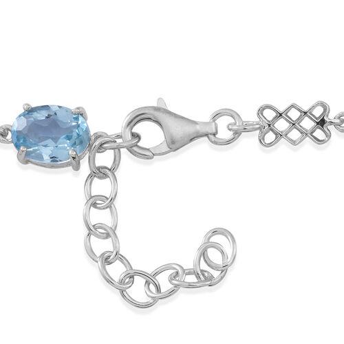 Sky Blue Topaz (Ovl) Bracelet (Size 7.5 with 1.5 inch Extender) in Rhodium Plated Sterling Silver 18.000 Ct.