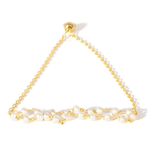 Fresh Water Pearl Two Strands Adjustable Bracelet (Size 6.5 to 7.5) in 14K Gold Overlay Sterling Silver