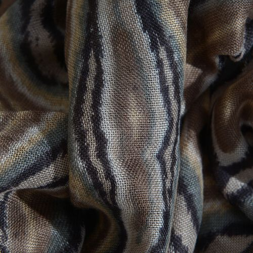 NEW FOR SEASON - Hand Screen Printed Chocolate, Black and Multi Colour Printed Scarf (Size 180x55 Cm)