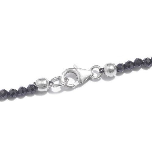 Designer Inspired- Boi Ploi Black Spinel TASSEL Necklace (Size 20) in Platinum Overlay Sterling Silver 47.910 Ct.