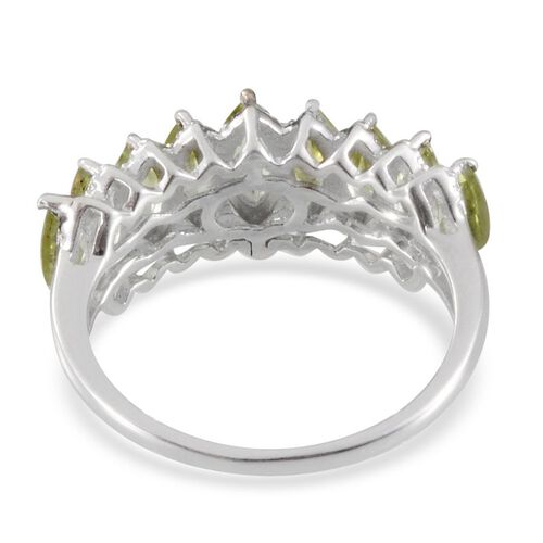 Hebei Peridot (Mrq) Ring in Platinum Overlay Sterling Silver 2.400 Ct.