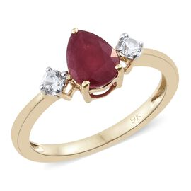 1.750 Ct AA African Ruby and Natural Cambodian Zircon Ring 9K Gold