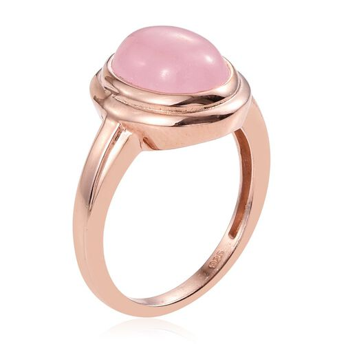 Pink Jade (Ovl) Solitaire Ring in Rose Gold Overlay Sterling Silver 4.500 Ct.