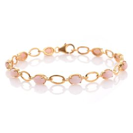 Natural Peruvian Pink Opal (Ovl) Bracelet (Size 7.5) in 14K Gold Overlay Sterling Silver 4.250 Ct.
