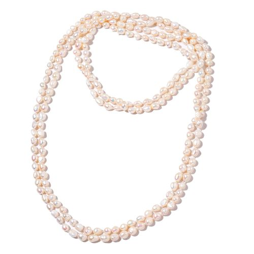 Limited Available -AAA Double Shine High Lustre  Fresh Water Natural White Pearl Necklace (Size 100)