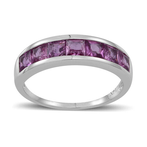 14K W Gold Pink Sapphire (Sqr) Half Eternity Band Ring 2.500 Ct.