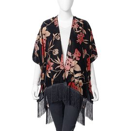 New Spring-Summer Collection- Designer Inspired Black, Red, Beige and Multi Colour Rose Flower Pattern Kimono with Tassels (Free Size)