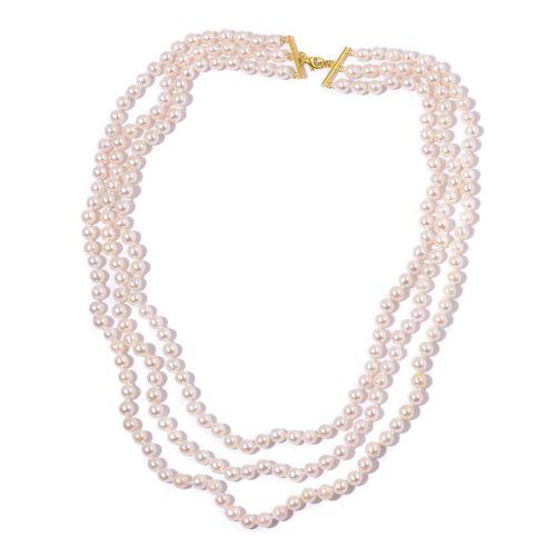 ILIANA 18K Yellow Gold Japanese Akoya Pearl 3 Strand Necklace (Size 19)