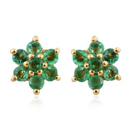 Kagem Zambian Emerald Floral Stud Earrings (with Push Back) in Gold Plated Silver 0.40 Ct