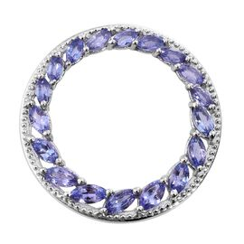 Tanzanite (Mrq) Circle of Life Pendant in Platinum Overlay Sterling Silver 2.250 Ct.