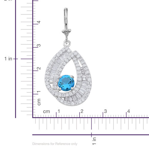 Signature Collection-ELANZA AAA Simulated Aquamarine (Rnd), Simulated Diamond Lever Back Earrings in Rhodium Plated Sterling Silver