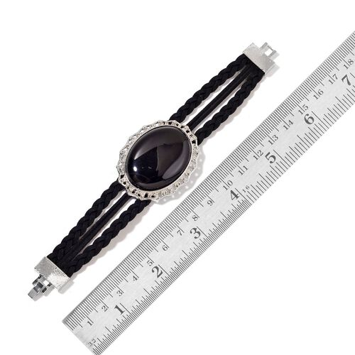 Black Agate Bracelet (Size 7.5) in Silver Tone 38.000 Ct.