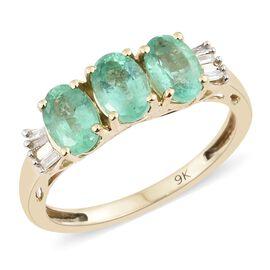 Super Auction- 9K Yellow Gold AAA Boyaca Colombian Emerald (Ovl), Diamond Ring 1.300 Ct.