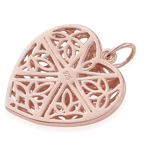 J Francis - Rose Gold Overlay Sterling Silver (Rnd) Heart Pendant  Made with SWAROVSKI ZIRCONIA