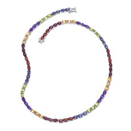 Colours Of Life - Mozambique Garnet (Ovl), Rhodolite Garnet, Hebei Peridot, Amethyst, Citrine and Iolite Necklace (Size 18) in Platinum Overlay Sterling Silver 35.500 Ct.