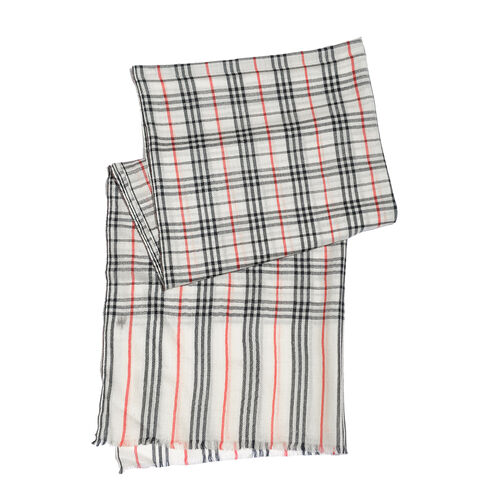 100% Cashmere Wool Checks Pattern White, Black and Red Colour Scarf with Fringes (Size 200x70 Cm)