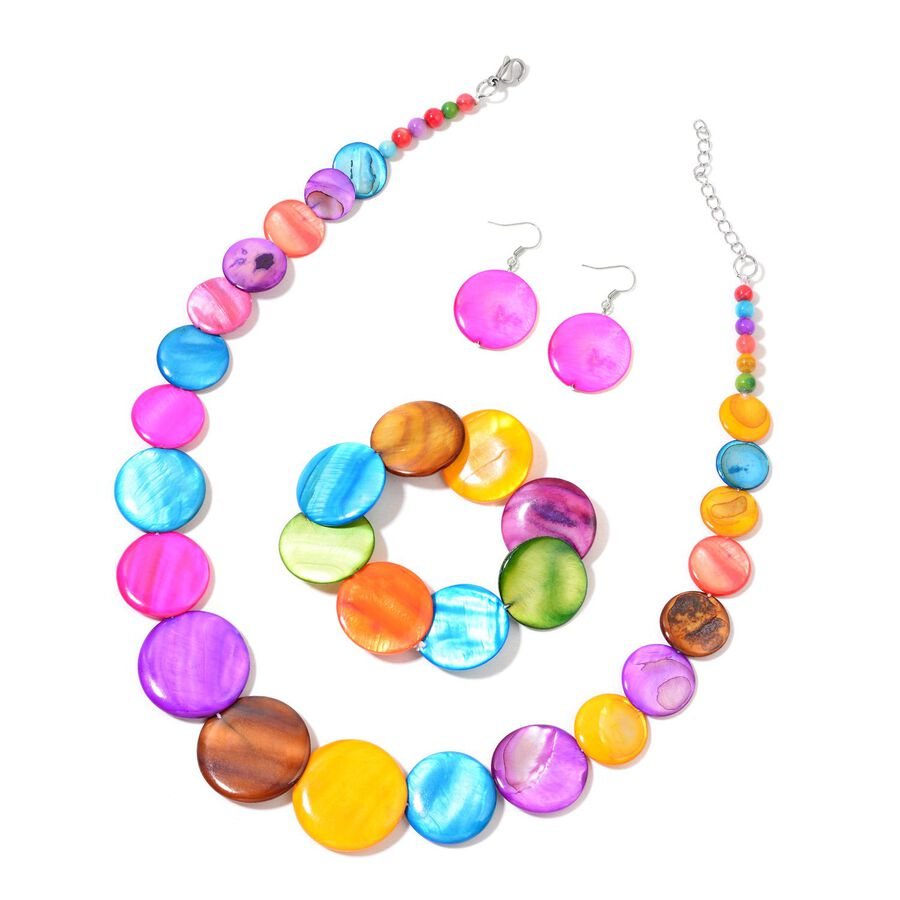 Multi Colour Shell Coin Necklace Size 21 With Extender