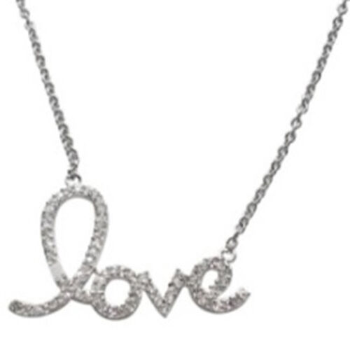 ELANZA AAA Simulated Diamond (Rnd) Love Message Necklace (Size 18 with 1 inch Extender) in Rhodium Plated Sterling Silver