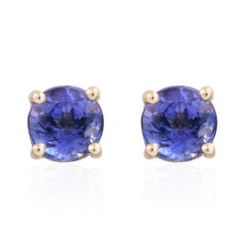 9K Yellow Gold AA Tanzanite (Rnd) Stud Earrings (with Push Back) 1.000 Ct.