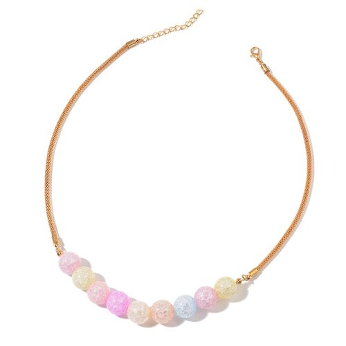 Multi Colour Glass and Simulated White Diamond Necklace (Size 20 with 2 inch Extender) and Stud Earrings (with Push Back) in Gold Tone
