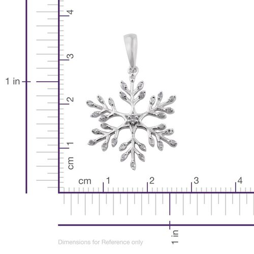 Diamond (Rnd) Snowflake Pendant in Platinum Overlay Sterling Silver 0.150 Ct.