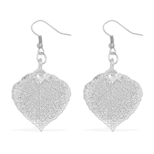 Tucson Collection Aspen Leaf Hook Earrings Dipped in Platinum (Size 24x29 mm)