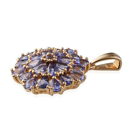 Tanzanite (Pear) Cluster Pendant in 14K Gold Overlay Sterling Silver 3.300 Ct.
