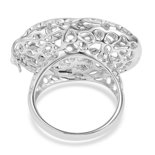 RACHEL GALLEY Rhodium Plated Sterling Silver Pebble Ring, Silver wt 9.77 Gms.