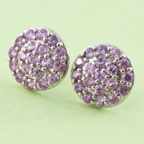 RHAPSODY 950 Platinum 1.50 Carat AAAA Pink Sapphire Pave Disc Stud Earrings with Screw Back