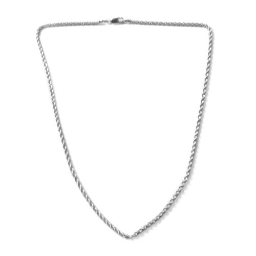 JCK Vegas Collection - Rhodium Plated Sterling Silver Rope Chain (Size 20), Silver wt. 11.48 Gms.